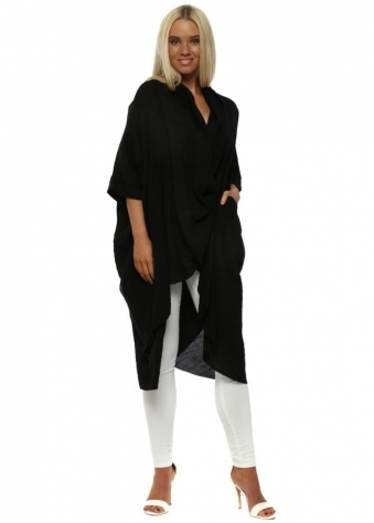 Black Cotton Crossover Draped Oversized Top