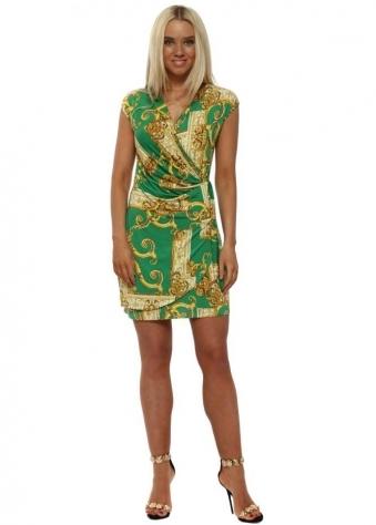 Green & Gold Chain Print Wrap Dress