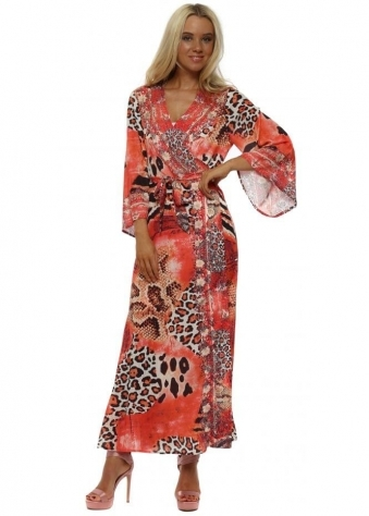 Coral Animal Print Maxi Kimono Dress
