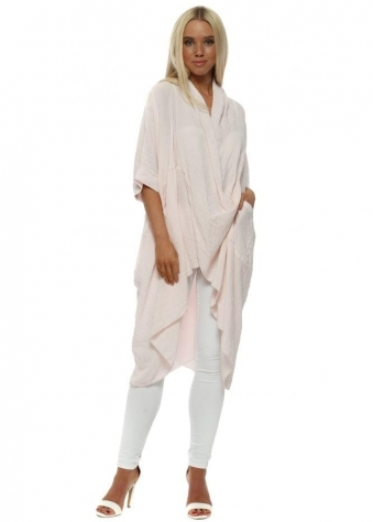 Pink Cotton Crossover Draped Oversized Top