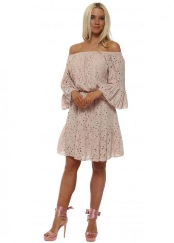 Pink Crochet Lace Off The Shoulder Dress