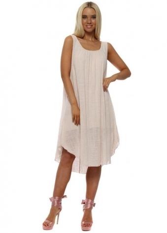 Light Pink Loose Fit Cotton Dress