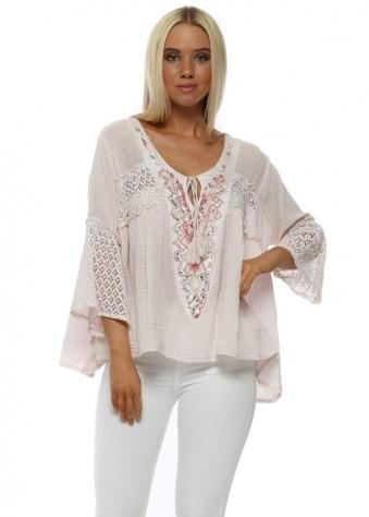 Pink Sequin Embroidered Tie Top