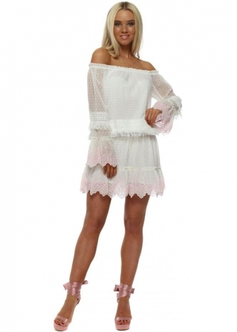 White Off The Shoulder Embroidered Dress