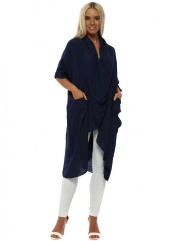 Navy Blue Cotton Draped Oversized Top