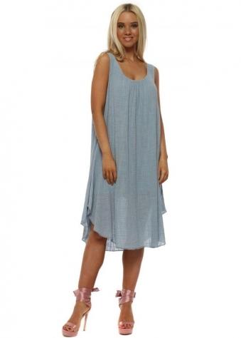 Denim Blue Loose Fit Cotton Dress