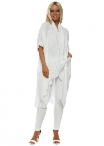 White Cotton Crossover Draped Oversized Top