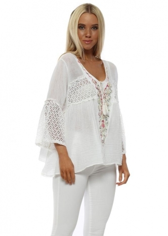 White Sequin Embroidered Tie Top