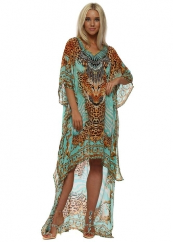 Aqua Tigress High Low Kaftan Dress