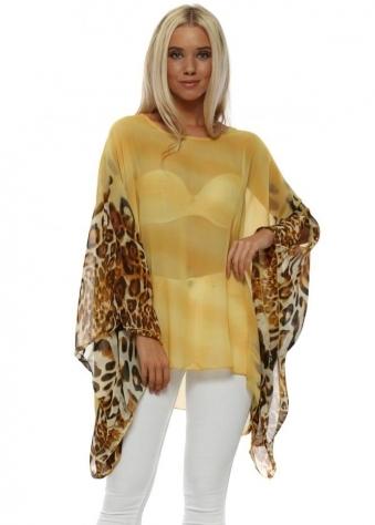 Yellow Leopard Sleeve Kaftan Top