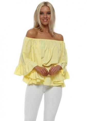 Yellow Pearl Embellished Bardot Flared Sleeve Top