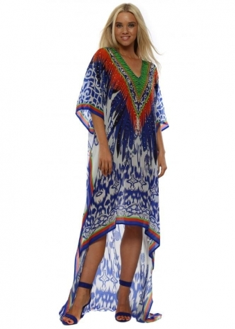 Santorini Chain High Low Kaftan Dress