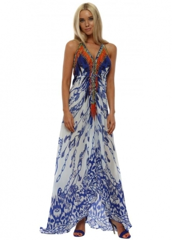 Santorini Chain Crystal Halterneck Maxi Dress