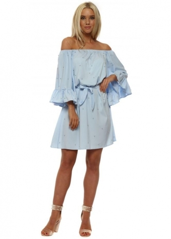 Baby Blue Pearl Off The Shoulder Dress
