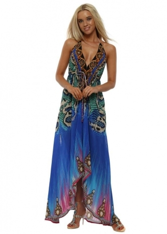 Azure Crystal Halterneck Maxi Dress