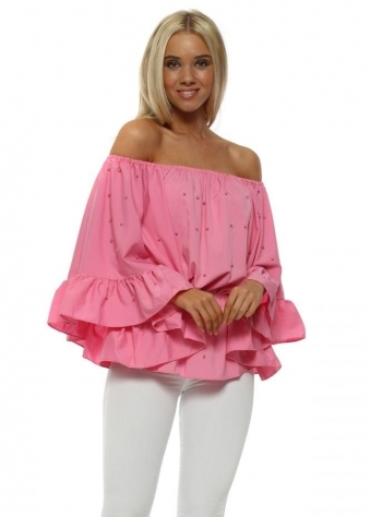 Fucshia Pearl Embellished Bardot Flared Sleeve Top