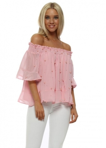 Baby Pink Pearl Chiffon Off The Shoulder Cropped Top