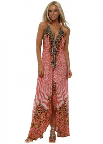 Pink Tigress Crystal Halterneck Maxi Dress