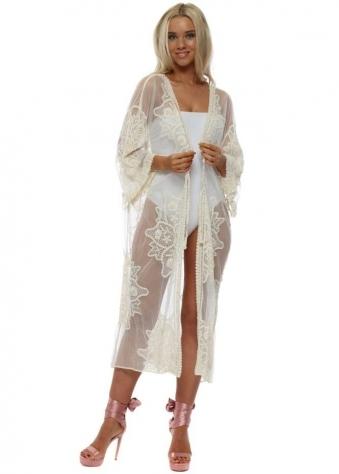 Cream Lace Pearl Embellished Long Kimono