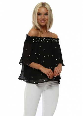 Black Pearl Chiffon Off The Shoulder Cropped Top