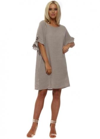 Taupe Linen Frill Tunic Dress
