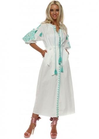 White Embroidered Maxi Kimono Dress