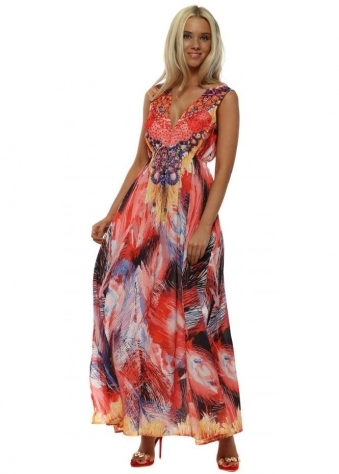Coral Palm Print Embellished Maxi Dress