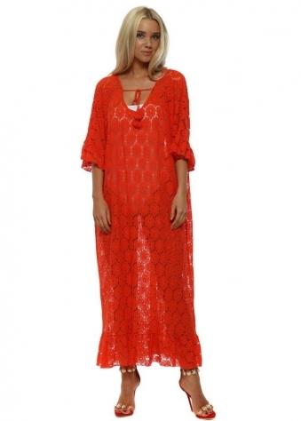 Red Lace Flower Cotton Maxi Kaftan Dress