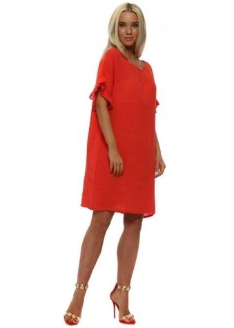 Coral Linen Frill Tunic Dress