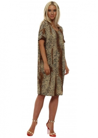 Beige Mini Leopard Print Dress