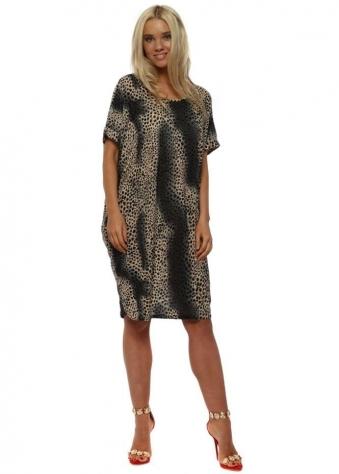 Grey Mini Leopard Print Dress
