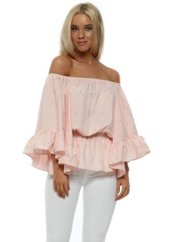 Baby Pink Pearl Embellished Bardot Flared Sleeve Top