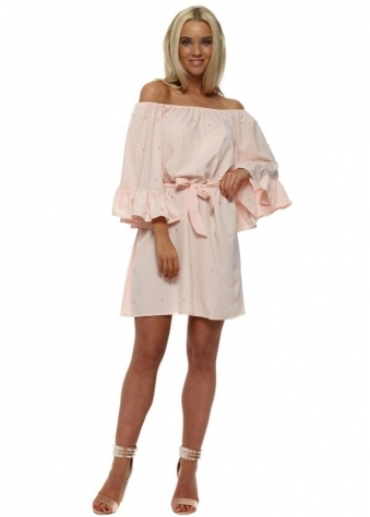 Baby Pink Pearl Off The Shoulder Dress