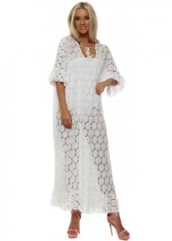 White Lace Flower Cotton Maxi Kaftan Dress