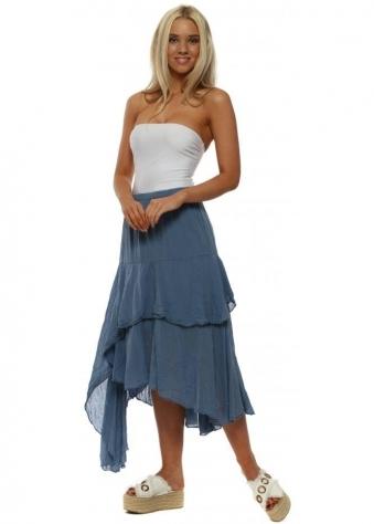 Denim Blue Cotton Layered Skirt