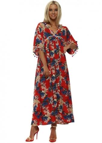 Red Flower Print Pom Pom Maxi Dress
