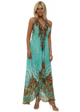 Aqua Tigress Crystal Halterneck Maxi Dress