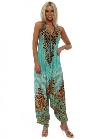 Aqua Tigress Print Halterneck Jumpsuit