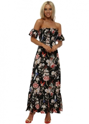 Black & Pink Oriental Print Tie Back Maxi Dress