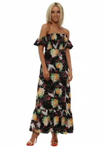 Black & Green Oriental Print Tie Back Maxi Dress