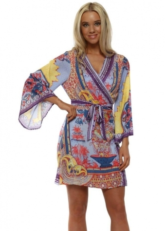 Purple Oriental Print Mini Kimono Dress