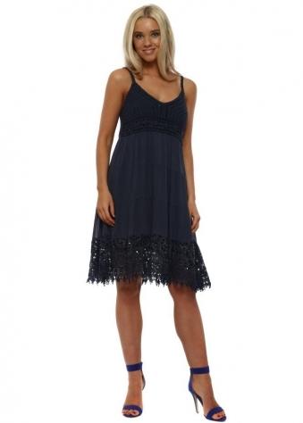 Navy Crochet & Sequin Midi Dress