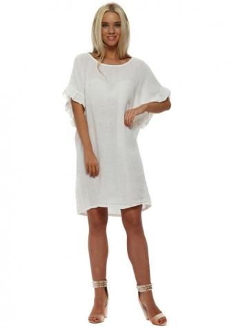 White Ruffle Sleeve Linen Dress