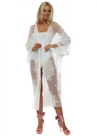 White Lace Pearl Semi Sheer Long Kimono