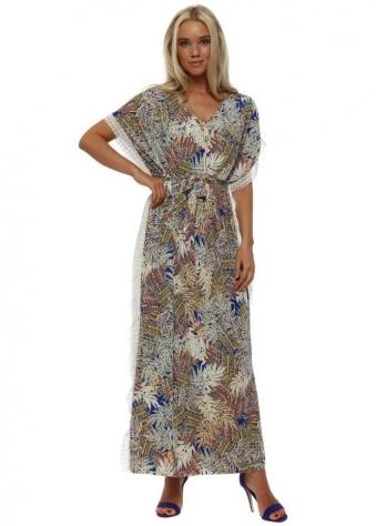 Blue Leaf Gold Necklace Maxi Dress