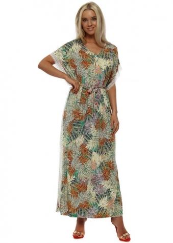 Green Leaf Gold Necklace Maxi Kaftan Dress