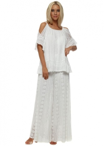 Cold Shoulder White Lace Flared Trousers Suit