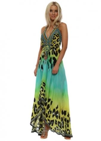 Syros Aquamarine Leopard Crystal Halterneck Maxi Dress