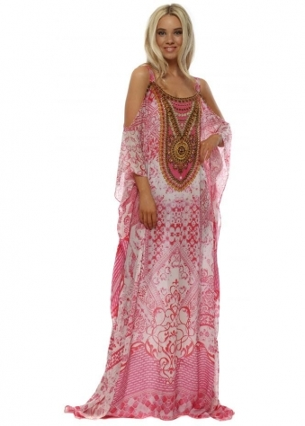 Santorini Pink & White Cold Shoulder Maxi Kaftan
