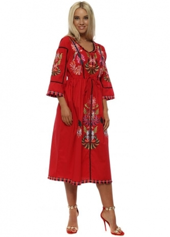 Red Embroidered Cotton Prairie Dress